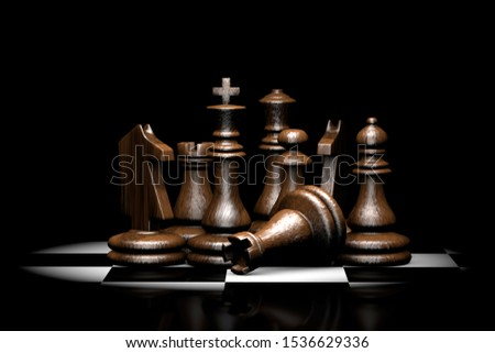 3D illustration of wooden chess pieces illuminated from above.