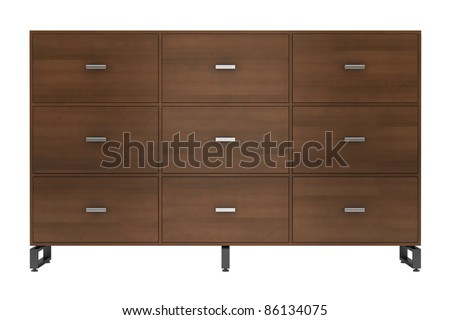 3d illustration of  wooden office cabinet isolated on white background