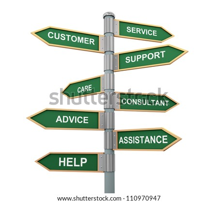 3d illustration of words sign post related to concept of customer support and help