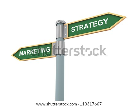 3d illustration of words sign post related to concept of marketing strategy