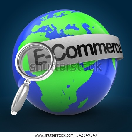 3d illustration of world globe over blue background  with E-commerce text on steel banner