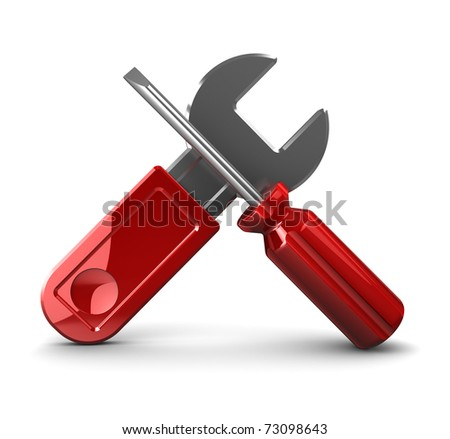 3d illustration of wrench and screwdriver crossed