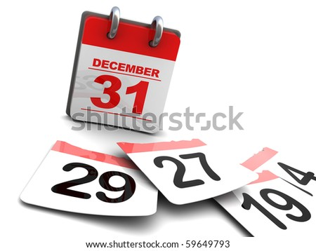 3d illustration of year calendar and pages on floor, time passing concept