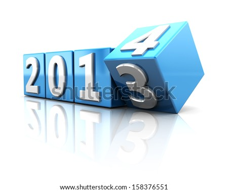 3d illustration of year change concept, 2013 to 2014