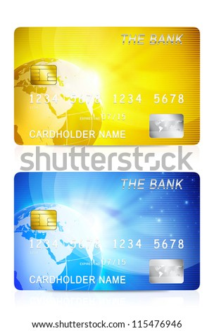 3D illustration of yellow and blue credit card isolated on white background