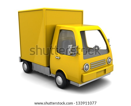 3D illustration of yellow delivery truck over white background