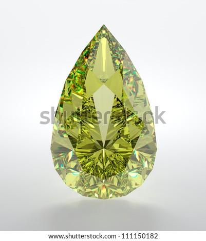 3D illustration of yellow diamond isolated on white background