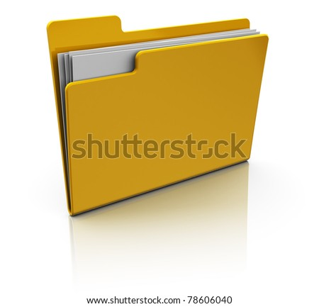 3d illustration  of yellow folder icon over white background