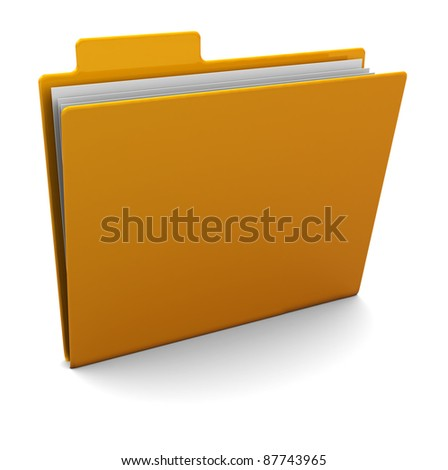 3d illustration of yellow folder with paper