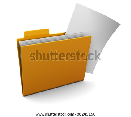 3d illustration of yellow folder with paper sticks