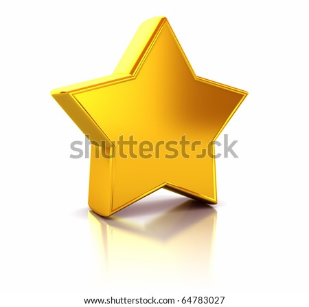 3d illustration of yellow metallic star over white background