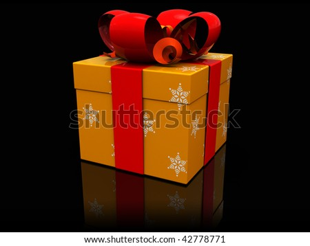 3d illustration of yellow present box over black background