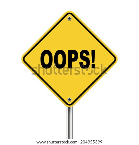 3d illustration of yellow road sign of oops isolated on the white background - stock photo