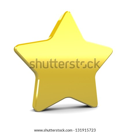3d illustration of yellow star over white background