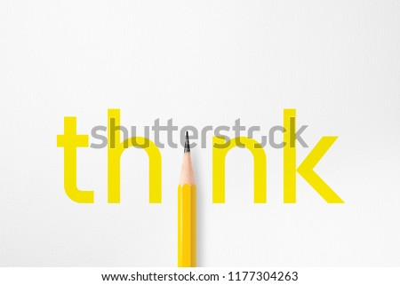 3D illustration of yellow typography think composition interacting to photo of yellow pencil isolated on white paper with copy space that look minimalist. Flash light made smooth lighting on pencil.