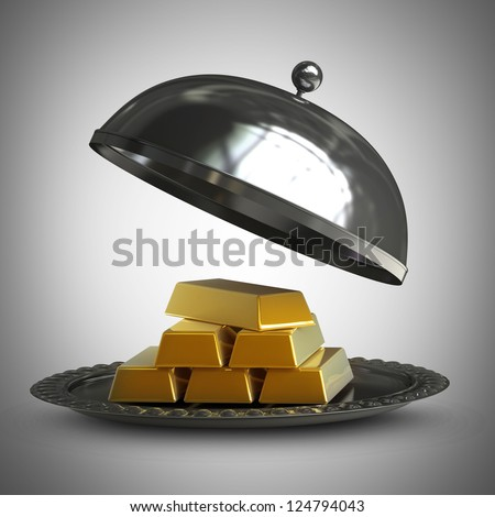 3d illustration. open empty metal silver platter with gold bars  High resolution 3d render