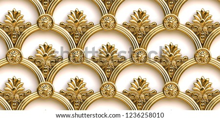 3 d illustration. Openwork decorative gold lattice with a shadow in the form of an ornament in oriental style isolated on a white background. Gold lattice. Festive background. Geometric ornament, gold