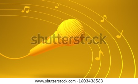 3d illustration or a 3d render of  music sound effect microphone mic singing song  dance video animation notes fly in air cable wire listen hear melody instrument live play pause sing background copy