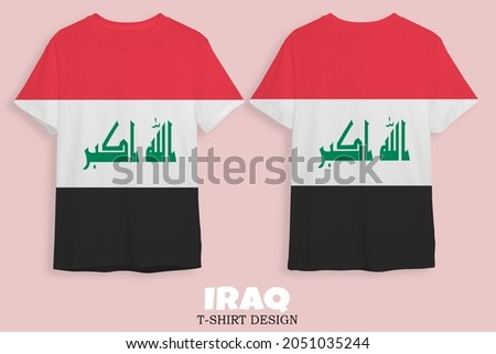 3D Illustration or 3D Rendering Short sleeve t-shirt design image with Iraq country flag image