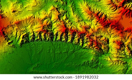 3D Illustration or rendering Digital Elevation Model (DEM) of Mountain Ridge, Central Java, Indonesia. This product made by ArcGIS. It can be used for wallpaper or background remote sensing Stok fotoğraf ©