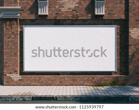 3d illustration. Outdoor Frame Mockup on city street