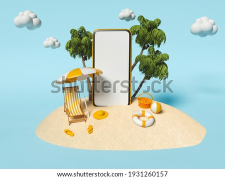 3d illustration. Palms and beach with chair, Beach umbrella and Smartphone on sand. Travel and Summer vacation concept.