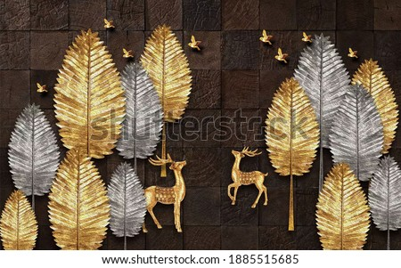 3d illustration pattern wood, golden and gray floral, golden deer and birds