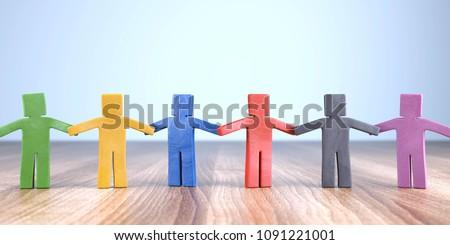 3D Illustration plasticine figures cohesion Stockfoto ©
