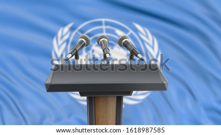 3d illustration. Podium lectern with microphones and UN flag in background
