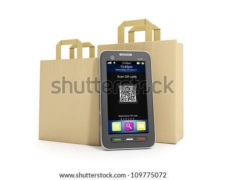 3d illustration: Purchase of goods via mobile Internet.