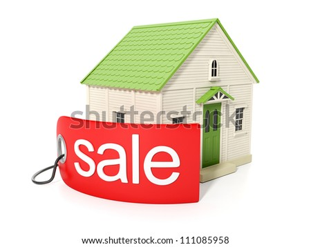 3d illustration, purchase of real estate. Sticker with the sale of real estate