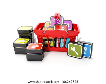 3d illustration: Purchase sale of mobile icons. The big red shopping basket with the mobile icon