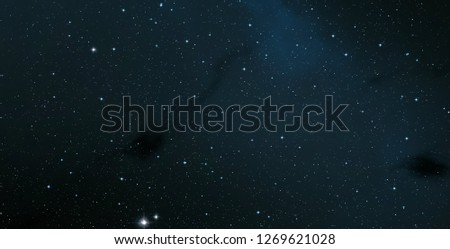 2d illustration. Realistic star pattern. Deep interstellar space. Stars, planets and moons. Various science fiction creative backdrops. Space art. Imaginary cosmic backdrop. #1269621028
