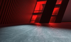 3D Illustration Red Design Architecture Background With Lighting