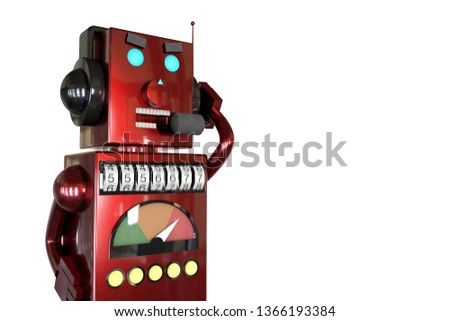 3d illustration: red metal robot in headphones with headset calls customers with annoying ads, dials the phone number randomly, spambot, robocalls concept, actual metaphor, allegory.
