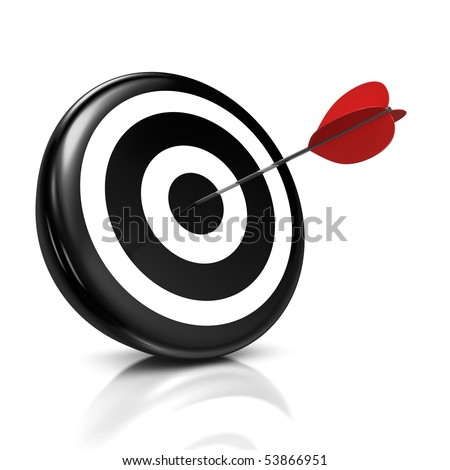 3d illustration/render of a black target with a red arrow stuck right in the center - success concept