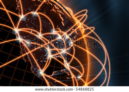 3d illustration/render of a global network - focus on north america