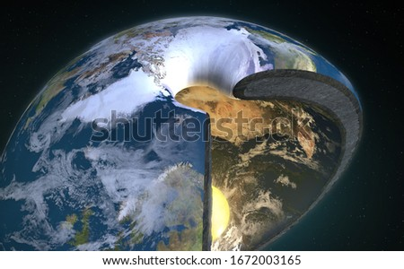 3D Illustration Rendering. Hollow Earth legendary kingdom Agartha located in the Earth's core with sun.Charles Hutton, Schiehallion experiment.  Foto stock ©