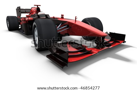 3d illustration/rendering of a red and black race car isolated on white - my own car design
