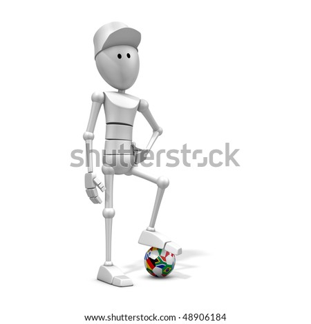3d illustration/rendering of a soccer player with world cup 2010 ball with national flags