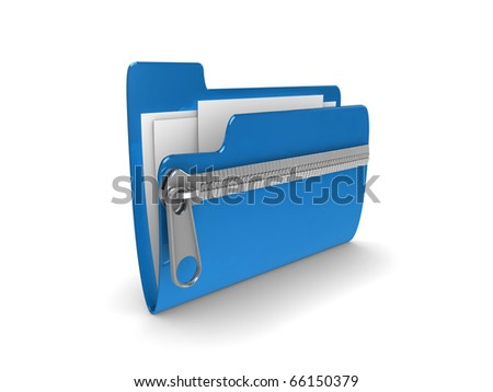 3d illustration representing a zipped or compressed folder of documents