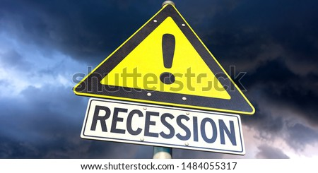 3D illustration, Road sign 'Recession' with threatening sky Stock photo ©