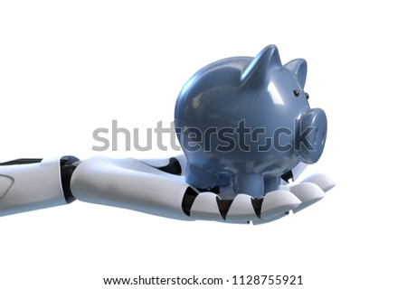 3D-Illustration Robotic hand with piggy bank Zdjęcia stock ©