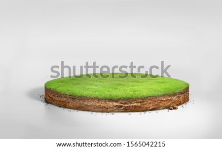 3D Illustration round soil ground cross section with earth land and green grass, realistic 3D rendering circle cutaway terrain floor with rock isolated on white