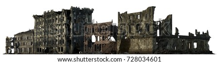 3d illustration ruined building ...