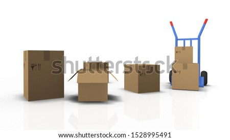 3D illustration sack truck and cartons on white background