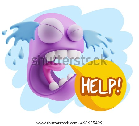 3d illustration sad character emoji expression saying help with