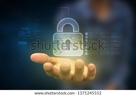 2d illustration Safety concept: Closed Padlock on digital background