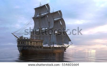 3d illustration sailboat on the ...