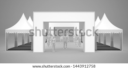 3d illustration sarnaville tents 3x3 m with blank gate entrance for event expo. High resolutiom image isolated background.